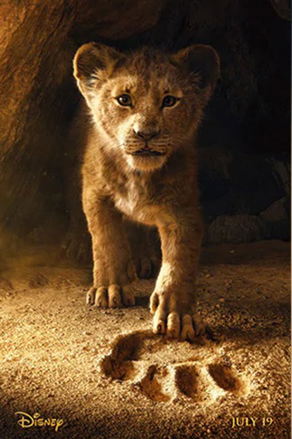 Simba the lion cub emerging from his den with his paw in Mufasa's pawprint