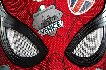Spider-Man mask with travel stickers