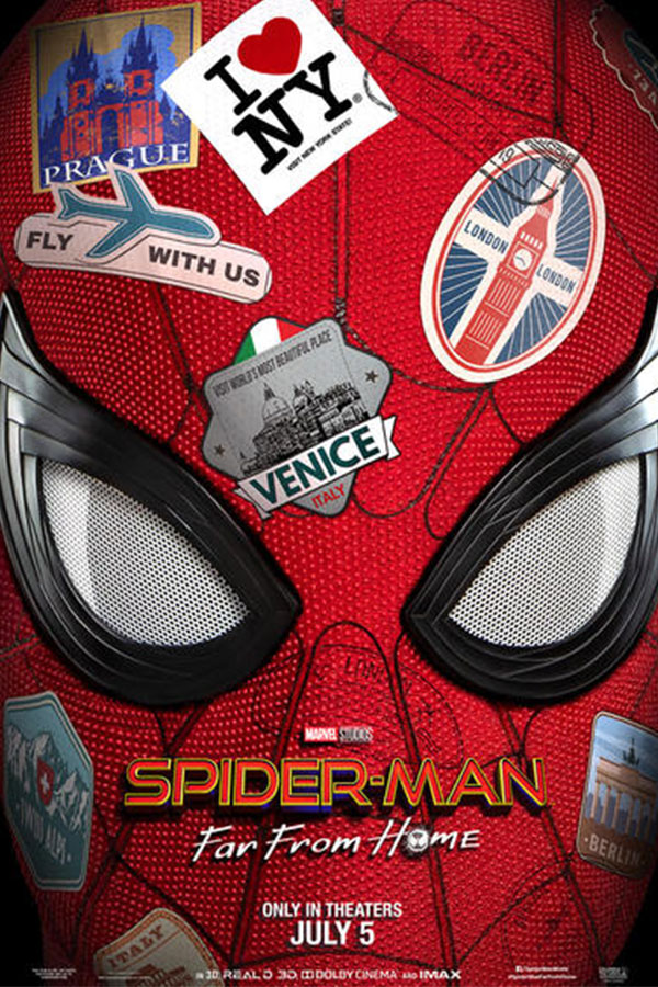 Spider Man mask with world stamps
