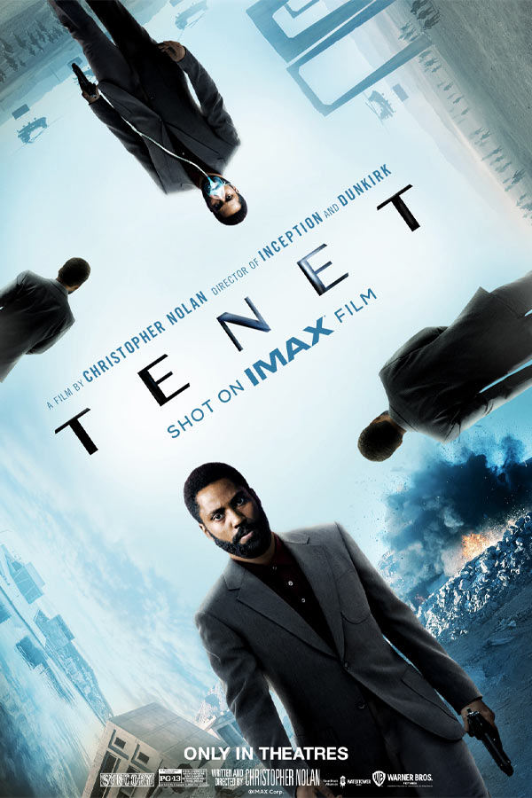 4 iterations of the same man in a grey suit carrying a gun with montaged background of the sky, buildings, and an explosion. Text that reads, A Film by Christopher Nolan, Director of Inception and Dunkirk, TENET, Shot on IMAX Film