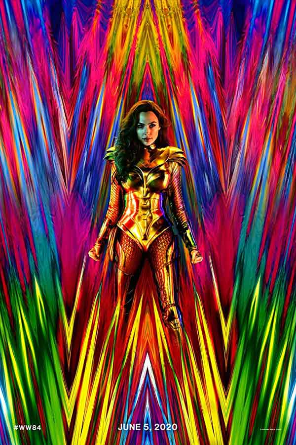 Gal Gadot as Wonder Woman with colorful background