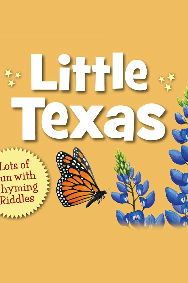 "mustard yellow book cover with a graphic of a monarch butterfly and blue bonnets, title reads ""Little Texas"""