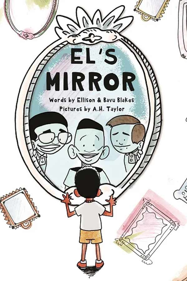 "illustrated cover of the book, ""El's Mirror."" A child is standing in front of a large mirror, three men are looking back through the mirror"