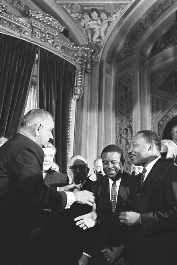 LBJ and MLK at signing of Civil Right Act
