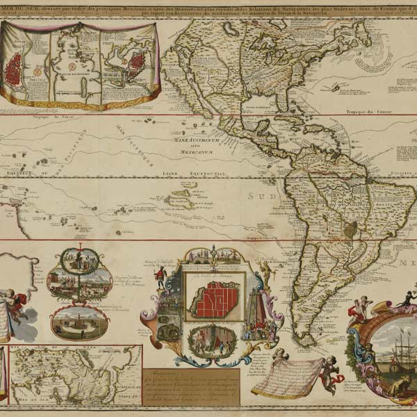 French map from 1730 with pictographs and an outline of North and South America