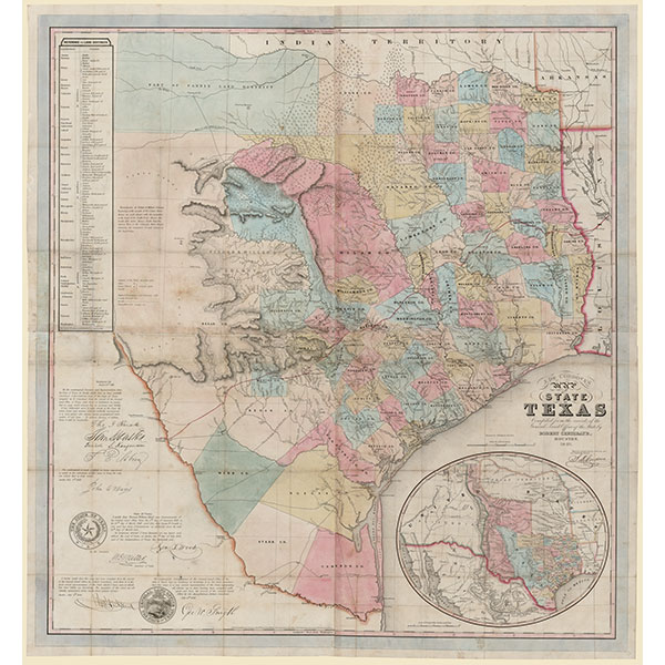 Map of the State of Texas by Jacob de Cordova, 1849
