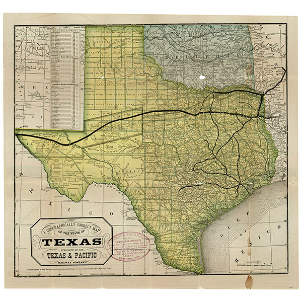 A geographically correct map of the state of Texas