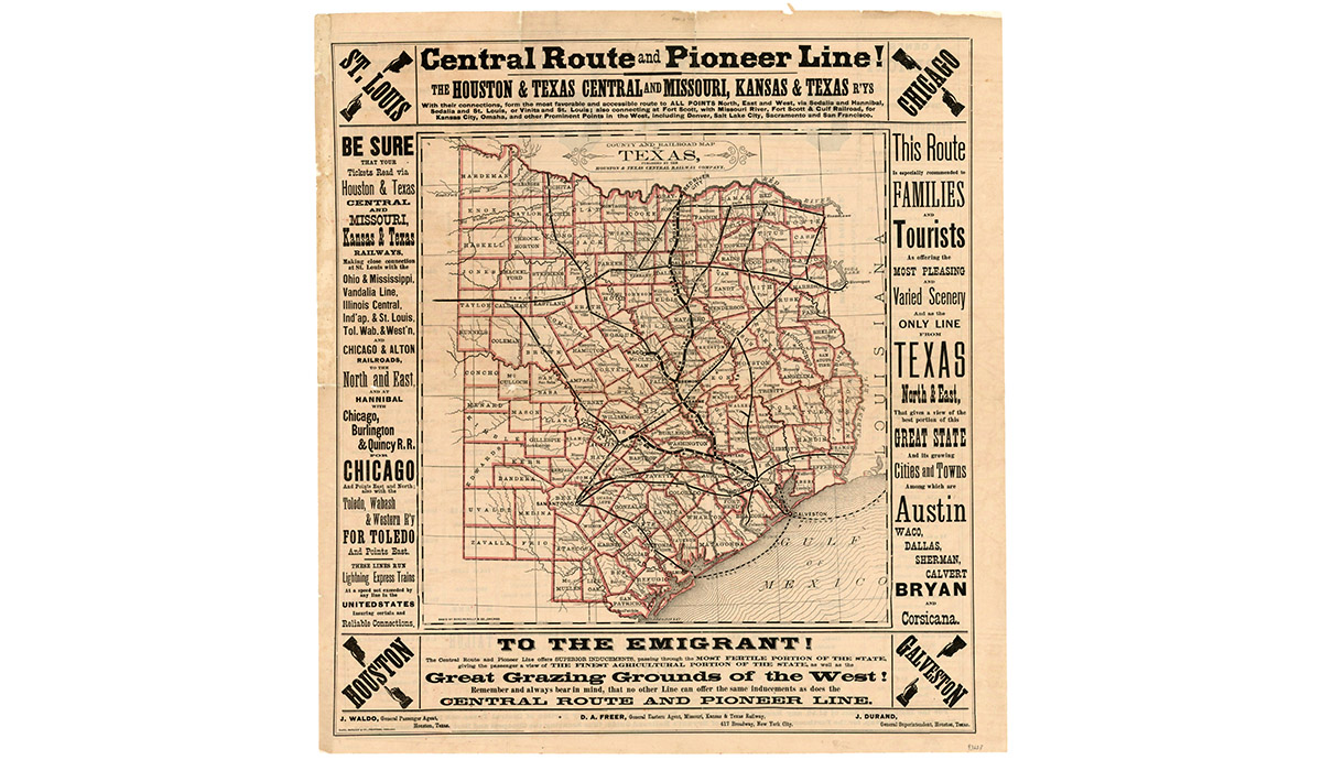 Map Of Texas Railroads.Mapping Texas Collections From The Texas General Land Office