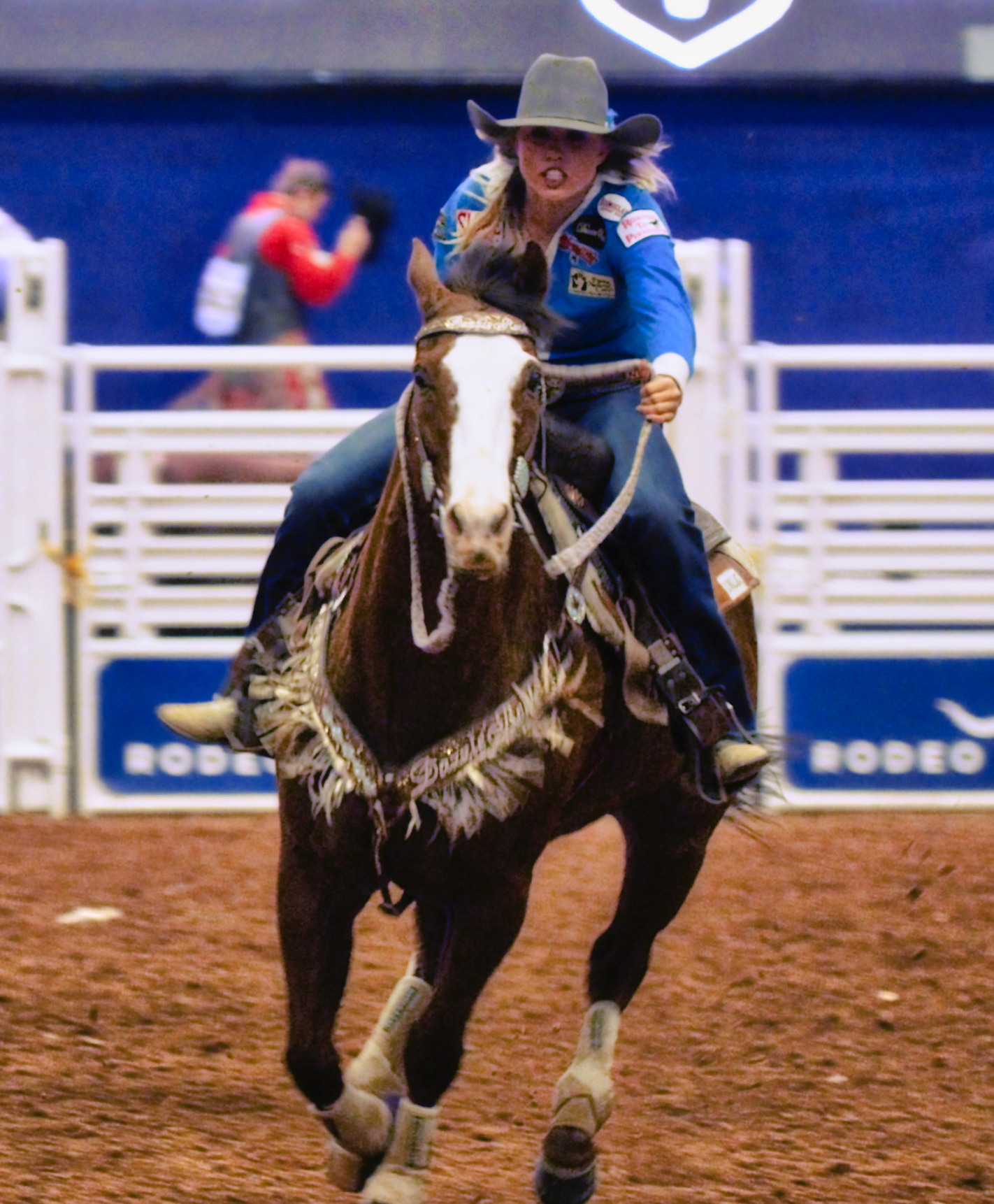 A barrel racer competes at Rodeo Austin in 2017. Original video documentaries throughout the exhibition capture the excitement of rodeo events across the state.