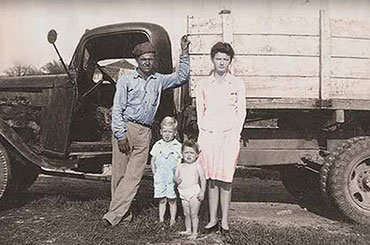 Cedar Choppers Cover- 1950s family in front of a truck