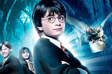 young Harry Potter against a blue cathedral and white owl flying next to him