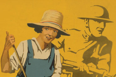 Cartoon of a woman with a produce basket and a WWI soldier is silhouetted behind her