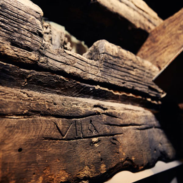 Original markings from the 17th century showed which timber pieces fit together for reassembly.