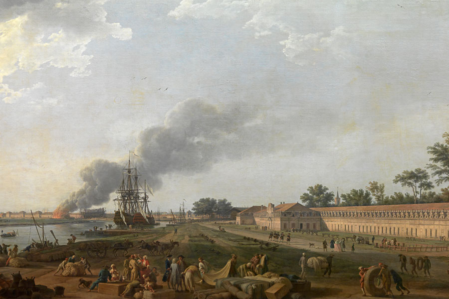 Vue du Port de Rochefort, prise du Magasin des Colonies Oil on canvas by Joseph Vernet, 1762. Courtesy © Musée national de la Marine/A. Fux, Paris, France.