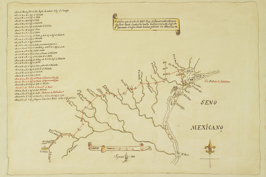 Map showing La Belle in Matagorda Bay from Spanish map  by Carlos Sigüenza y Góngora based on sketches from Alonso de León's 1689 quest to find Fort St. Louis. Courtesy Bryan (James Perry) Papers, The Dolph Briscoe Center for American History, UT Austin