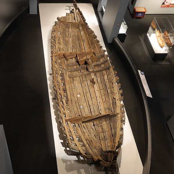 The preserved hull of La Belle is the centerpiece in the Bullock Museum's first floor Texas History Gallery.