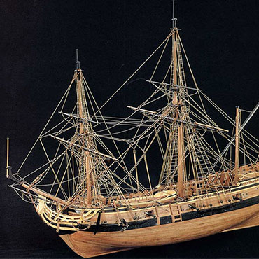 This scale model of La Salle's ship, La Belle, is on view at the Bullock Museum. Photograph by Jean Boudriot.
