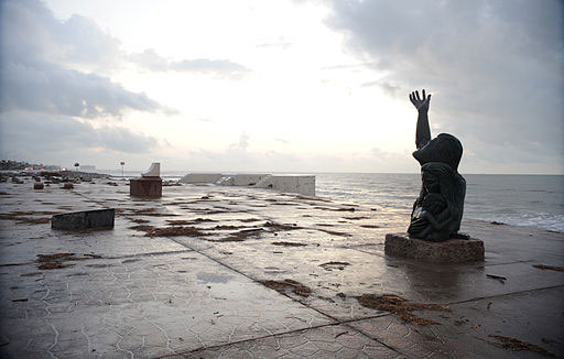 Sculptor David W. Moore's bronze monument to the victims and survivors of the Great Storm in Galveston, Texas.