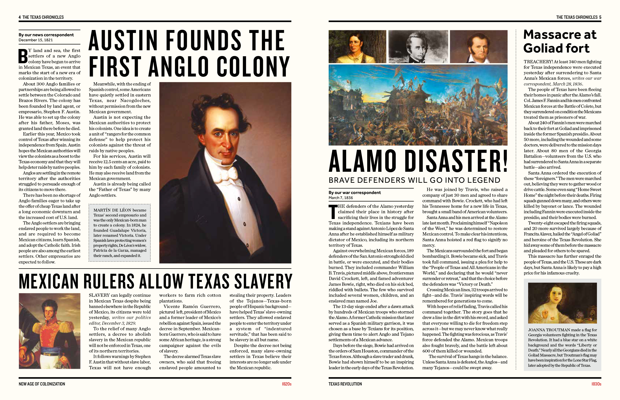 The Texas Chronicles features colorful illustrations and more than 60 newspaper-style articles detailing key moments in Texas history.