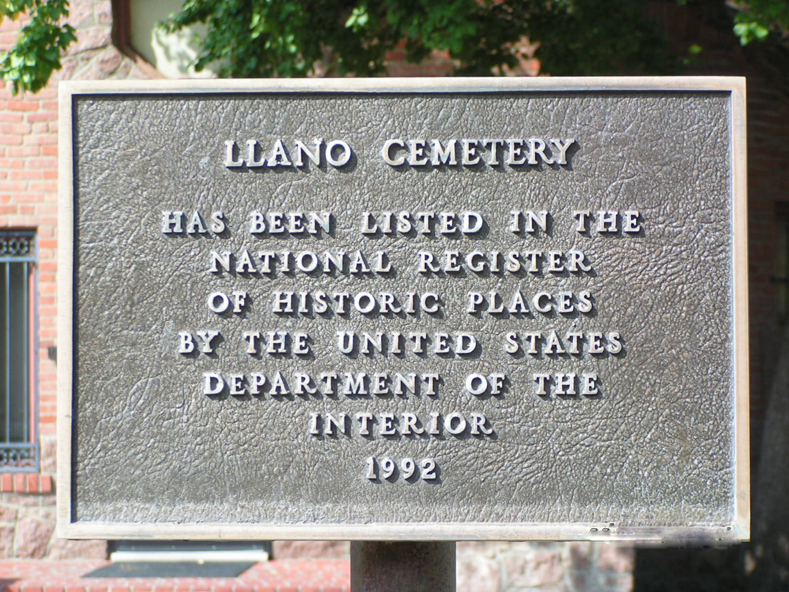National Register of Historic Places plaque at the Llano Cemetery.
