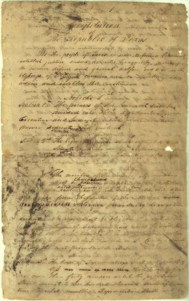 First page of the Texas Constitution, draft version, March 1836. Courtesy Texas General Land Office, Archives and Records Program, Austin.