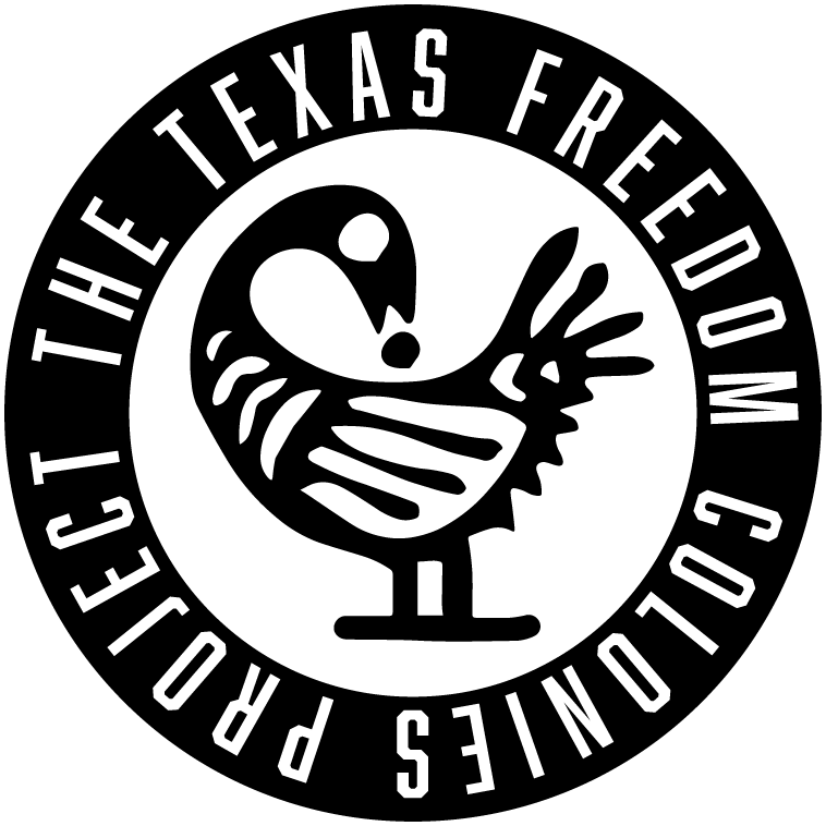 "black and white graphic logo of a duck and text that reads, ""The Texas Freedom Colonies Project"""
